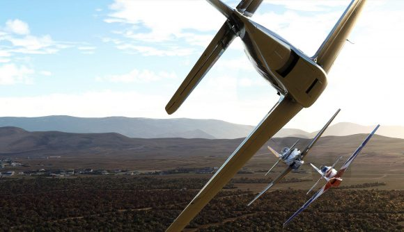 Competition aircraft fly over the Nevada desert in the Reno Air Races expansion for Microsoft Flight Simulator.