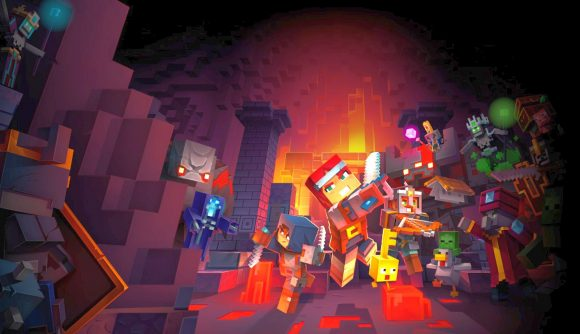 Blocky Minecraft Dungeons characters with swords and armour