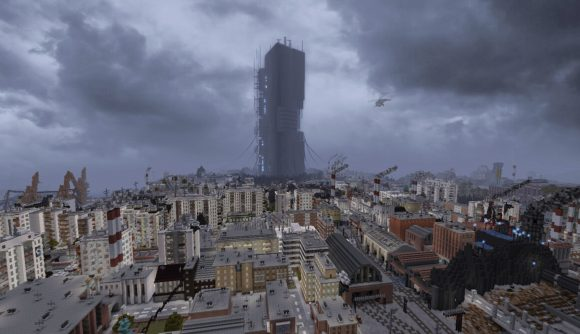 This is Half-Life 2's City 17, rebuilt entirely in Minecraft