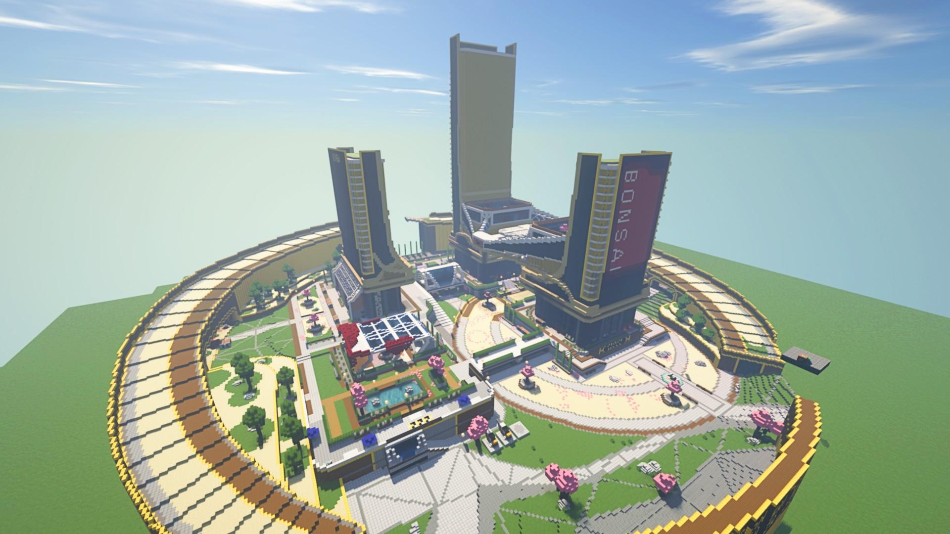 Apex Legends fan spends two months rebuilding Bonzai Plaza in Minecraft
