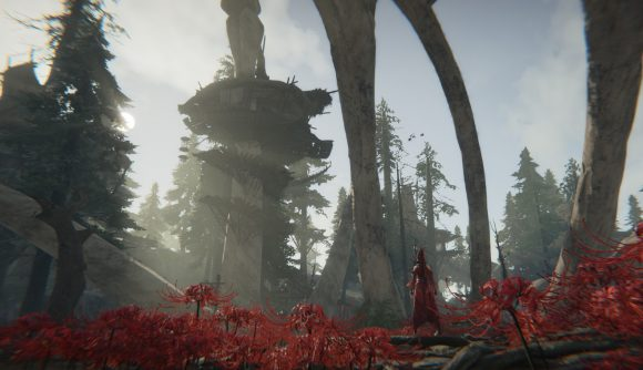 Standing among the red flowers in Naraka: Bladepoint, which just hit Steam