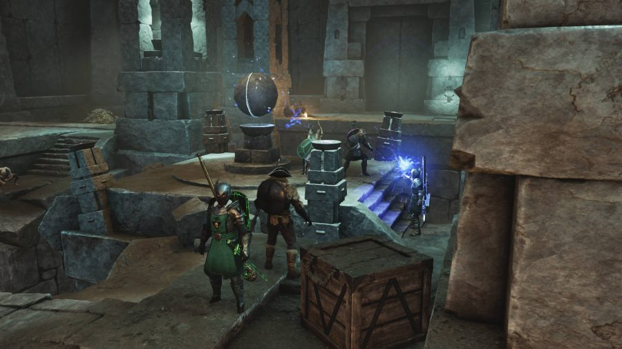 Several players gathered around pillars in the New World Amrine Excavation.