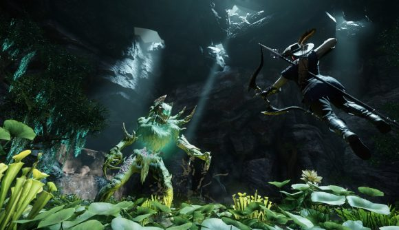 A fighter takes a flying leap toward a woodland dryad creature in New World.