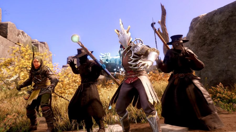 A group of New World characters readying their weapons