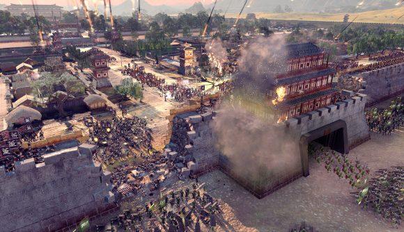 A chinese city in Total War Three Kingdoms under siege