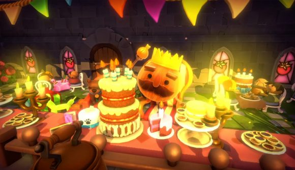 The Onion King is very excited about a birthday cake in the new Overcooked: All You Can Eat update