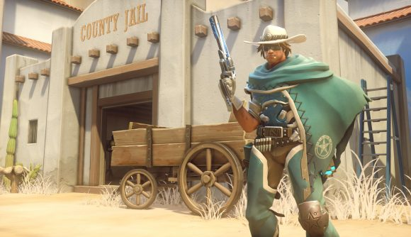 McCree stands outside a jail in Overwatch.