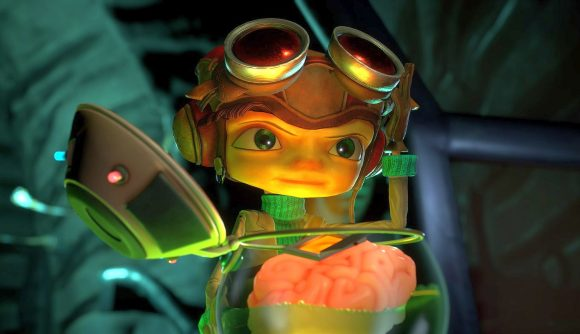 Raz from Psychonauts 2 opens a jar with a brain it in a dark room