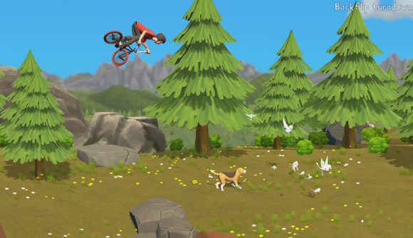 A cartoon-style BMX rider pulls a trick high above the forest floor as a beagle watches some birds in Pumped BMX Pro.