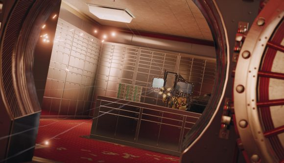 A Rainbow Six operator fires a rifle from inside an open bank vault in Rainbow Six Siege.
