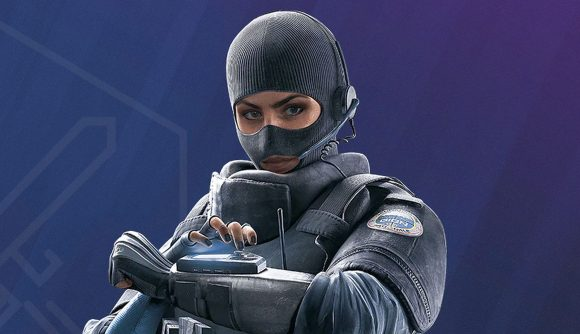 A shot of Rainbow Six Siege operator Twitch in her riot gear against a blue background