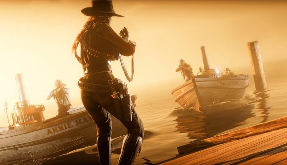 Red Dead Online player holds off a boat of enemies in Call to Arms