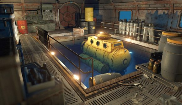 A yellow Rust submarine sits in an indoor dock