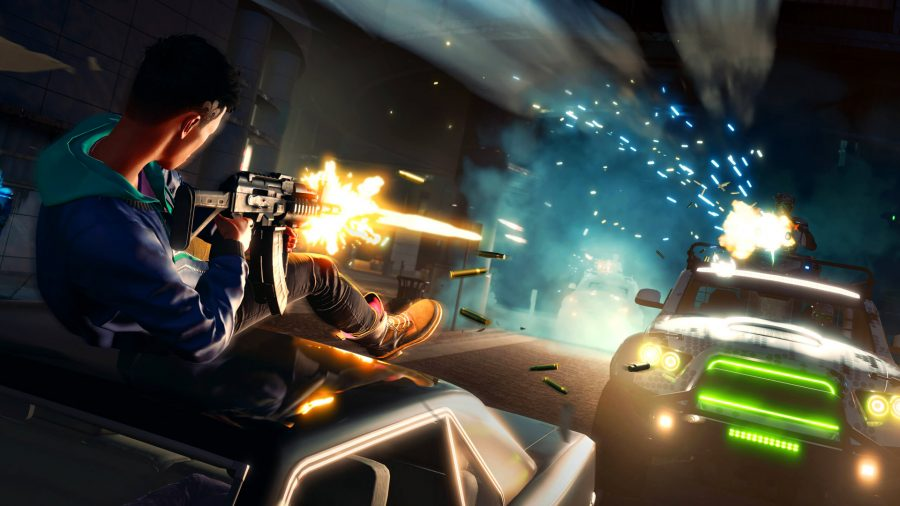 Kevin firing an assault rifle on top of a moving car in Saints Row