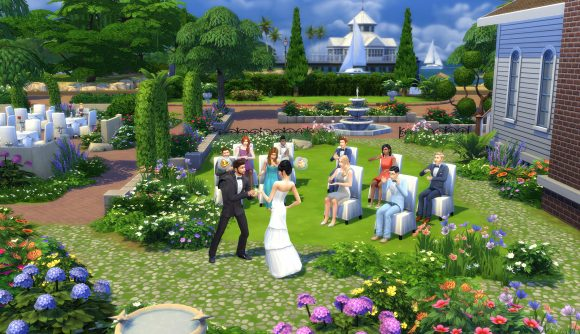 A wedding takes place in The Sims 4