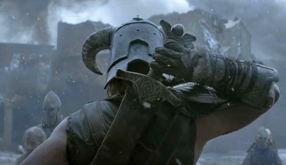 The back of the armoured, helmeted Dragonborn in Skyrim