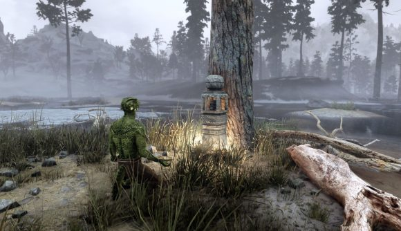 A Skyrim character worships at a new religion mod shrine by a tree