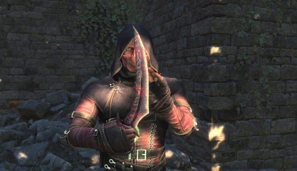An assassin admires a legendary dagger in the massive Skyrim mod, Skyblivion