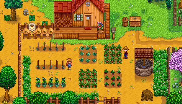 A simple farm in Stardew Valley - which you'll be able to build for yourself when it hits Game Pass
