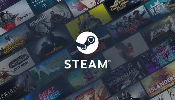 The Steam logo against a backdrop of popular video game key art.