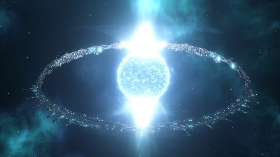 A ringworld wrapped around a star in grand strategy game stellaris