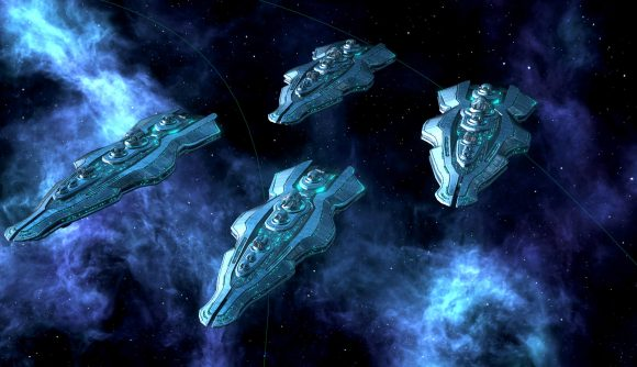 Humanoid species starships from strategy game stellaris