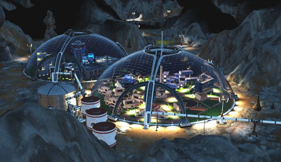 An underground base built in the Surviving Mars: Below & Beyond expansion