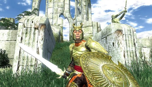 A gold-armour-wearing knight in Oblivion by some Ayelid ruins