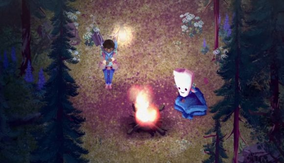 A gardener approaches a campfire, where a friendly forest spirit sits, in The Garden Path.