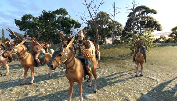 mounted female warriors with lances in total war troy