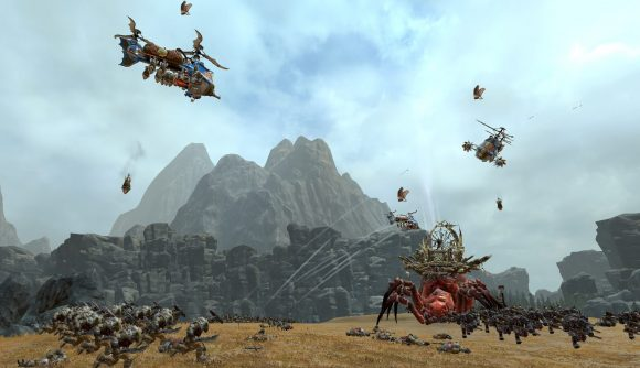 Dwarven gyrocopters drop bombs on greenskin formations in Total War: Warhammer 2.
