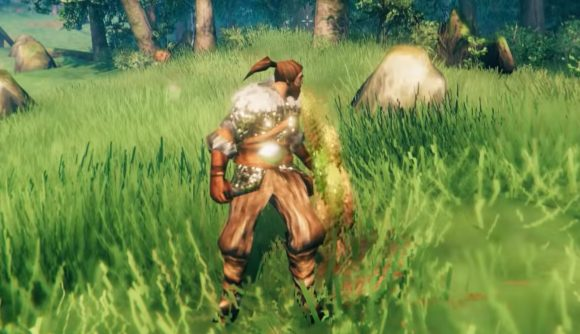 A Valheim character vomiting after consuming a bukeperry