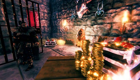 A Valheim player looks at all the gold he has