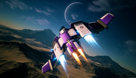 A purple and white Vanguard fighter craft flies over a rocky alien landscape with a big crescent moon in the background.