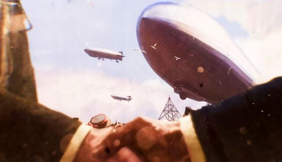 Airships soar overhead as two figures shake hands in the Victoria 3 teaser trailer.