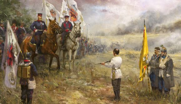 A painted-effect image of a military man on horseback accetping the surrender of another man