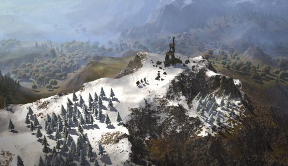A band of adventurers climbs a snowy peak toward an abandoned stone lookout tower in Wartales.
