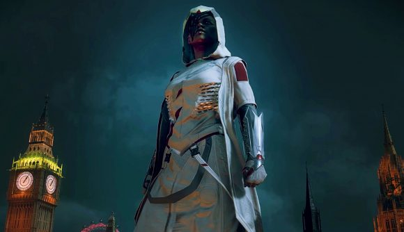 Assassin Darcy stands on a rooftop with Big Ben in the background in Watch Dogs Legion.