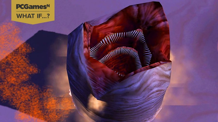 A sandworm emerging from the desert in the Dune RTS