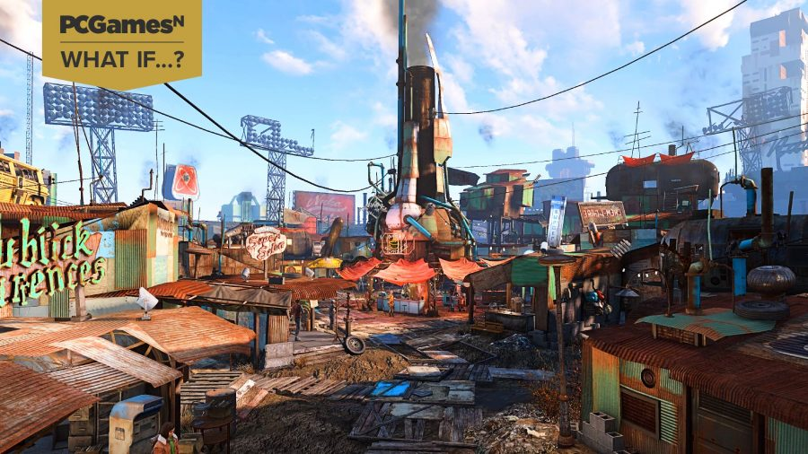 A view of Fallout 4's Diamond City, which showcases what a Fallout city builder could include