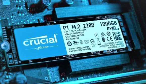 Crucial NVMe SSD installed into motherboard