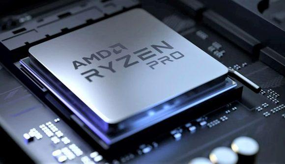 AMD Ryzen Pro on rendered motherboard backdrop