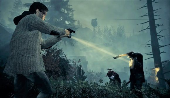 Alan Wake aiming at enemy with gun in forest environment
