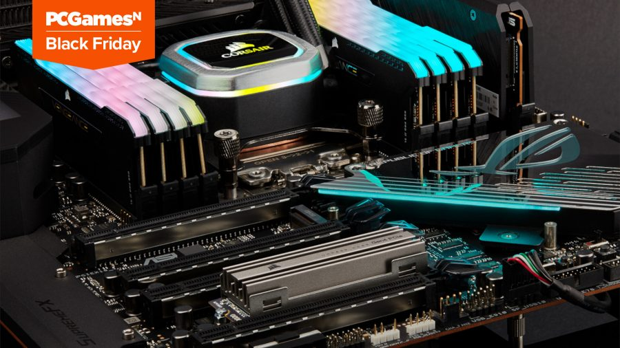 A gaming PC with RGB RAM, and RGB AIO water cooler, black mother ASUS ROG motherboard, and a silver Corsair MP600 SSD