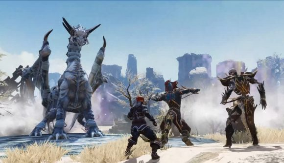 Three heroes face off against a frost dragon in Divinity: Original Sin 2.