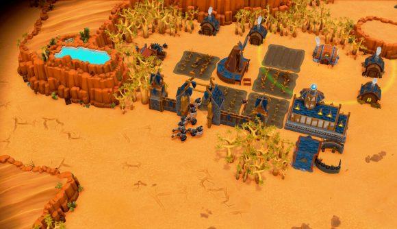A DwarfHeim settlement in the desert biome.