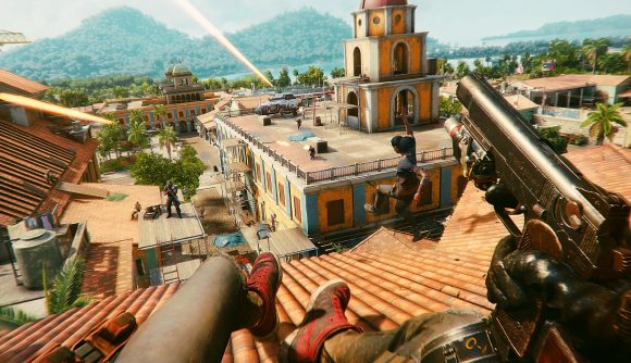 Far Cry 6's protagonist slides down the roof of a building