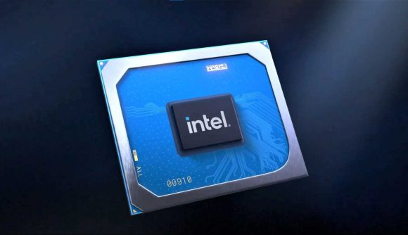 Promotional image of Intel Iris X Graphics Processor on rendered background