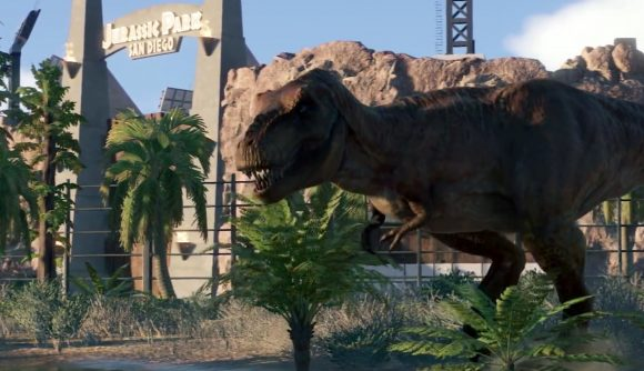 Jurassic World Evolution 2 T-Rex in front of The Lost World bad ending