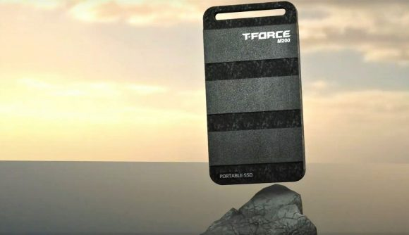 T-Force M200 portable SSD with rendered sky backdrop